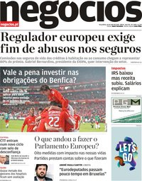 capa Jornal de Negócios de 14 maio 2019