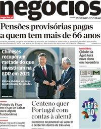 capa Jornal de Negócios de 15 maio 2019
