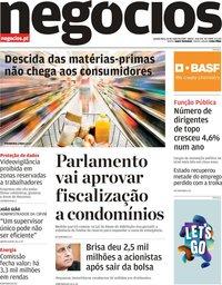 capa Jornal de Negócios de 16 maio 2019