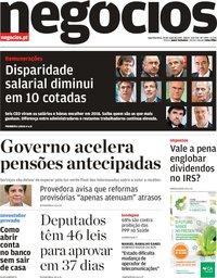 capa Jornal de Negócios de 20 maio 2019
