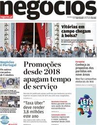 capa Jornal de Negócios de 21 maio 2019