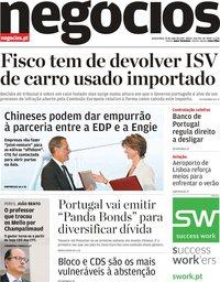 capa Jornal de Negócios de 22 maio 2019
