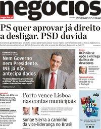 capa Jornal de Negócios de 23 maio 2019