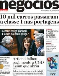 capa Jornal de Negócios de 28 maio 2019