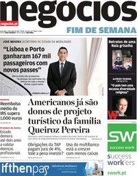 capa Jornal de Negócios de 31 maio 2019