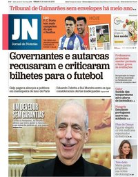 capa Jornal de Notícias de 11 maio 2019