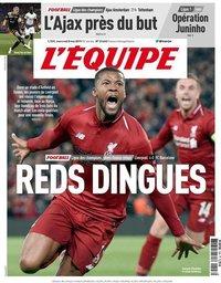 capa Jornal L'Équipe de 8 maio 2019