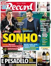 capa Jornal Record de 18 maio 2019