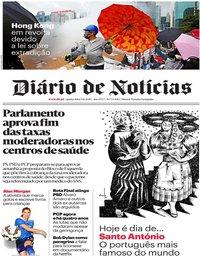 capa Diário de Notícias de 13 junho 2019