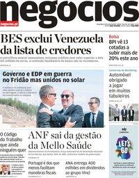 capa Jornal de Negócios de 4 junho 2019