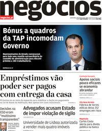 capa Jornal de Negócios de 6 junho 2019