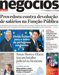 capa Jornal de Negócios de 11 junho 2019