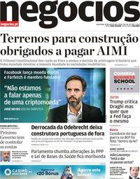 capa Jornal de Negócios de 19 junho 2019