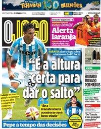 capa Jornal O Jogo de 7 junho 2019