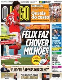 capa Jornal O Jogo de 18 junho 2019