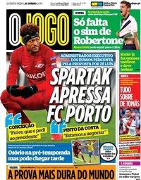 capa Jornal O Jogo de 20 junho 2019