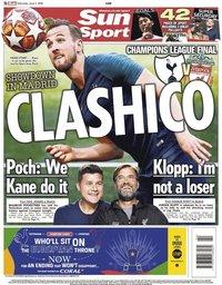 capa Jornal Sun Sport de 1 junho 2019