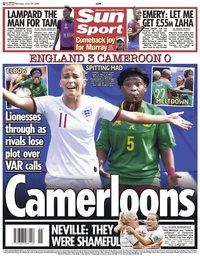 capa Jornal Sun Sport de 24 junho 2019