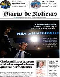 capa Diário de Notícias de 8 julho 2019