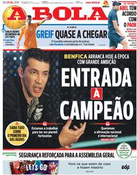 capa Jornal A Bola de 1 julho 2019