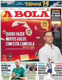 capa Jornal A Bola de 4 julho 2019