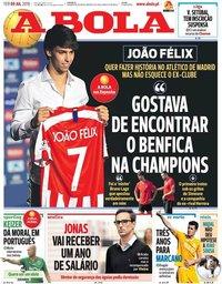 capa Jornal A Bola de 9 julho 2019