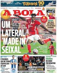 capa Jornal A Bola de 12 julho 2019