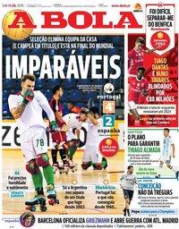 capa Jornal A Bola de 13 julho 2019