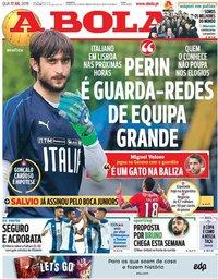 capa Jornal A Bola de 17 julho 2019