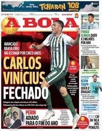 capa Jornal A Bola de 19 julho 2019
