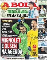 capa Jornal A Bola de 23 julho 2019
