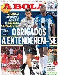 capa Jornal A Bola de 26 julho 2019