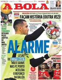 capa Jornal A Bola de 27 julho 2019