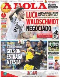 capa Jornal A Bola de 28 julho 2019