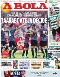 capa Jornal A Bola de 29 julho 2019