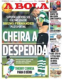 capa Jornal A Bola de 30 julho 2019