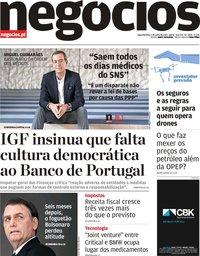 capa Jornal de Negócios de 1 julho 2019