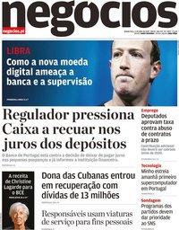 capa Jornal de Negócios de 4 julho 2019