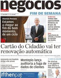 capa Jornal de Negócios de 5 julho 2019