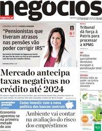 capa Jornal de Negócios de 8 julho 2019