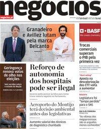capa Jornal de Negócios de 11 julho 2019