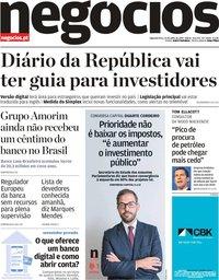 capa Jornal de Negócios de 15 julho 2019