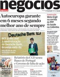 capa Jornal de Negócios de 16 julho 2019
