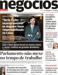capa Jornal de Negócios de 17 julho 2019