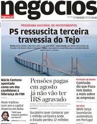 capa Jornal de Negócios de 18 julho 2019