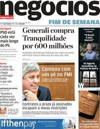 capa Jornal de Negócios de 19 julho 2019