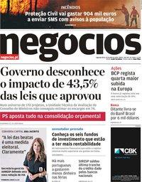 capa Jornal de Negócios de 22 julho 2019