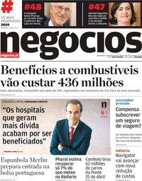 capa Jornal de Negócios de 29 julho 2019