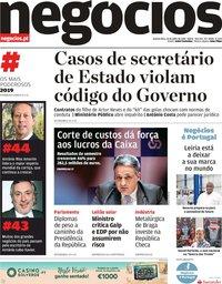 capa Jornal de Negócios de 31 julho 2019