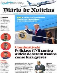 capa Diário de Notícias de 8 agosto 2019